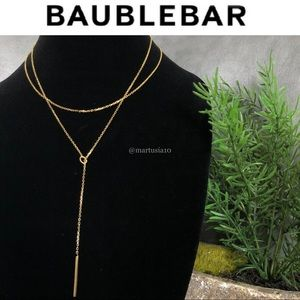 BaubleBar Gold Layered Y Chain Necklace